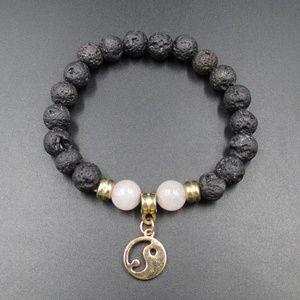 Vintage Stylish Peace Symbol Lava Rock Bracelet